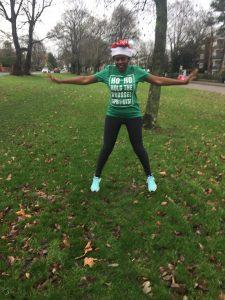 Doing jumping jacks in my Santa hat